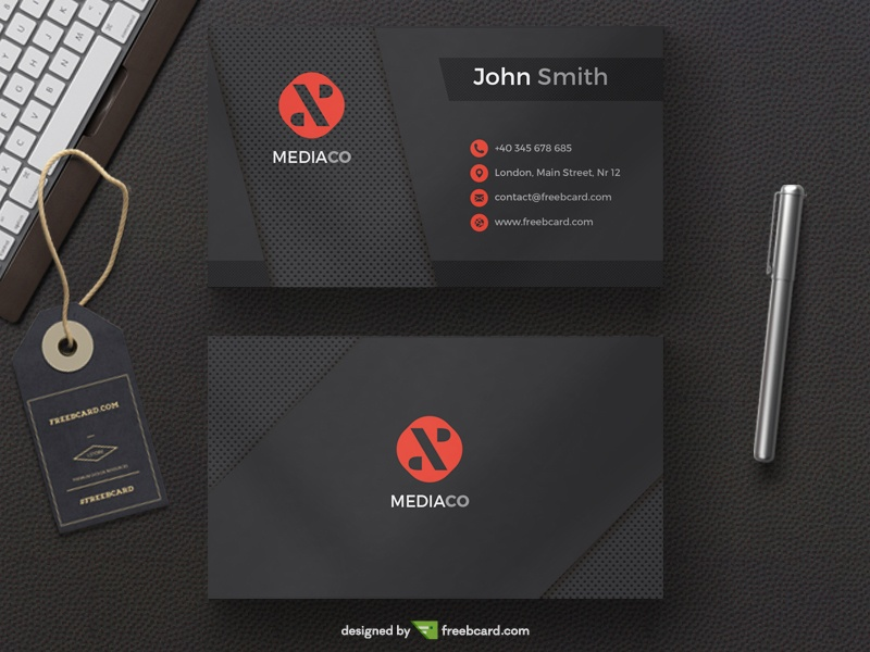 Dark mediaco black red personal card freebcard in free business card template business accmission Image collections