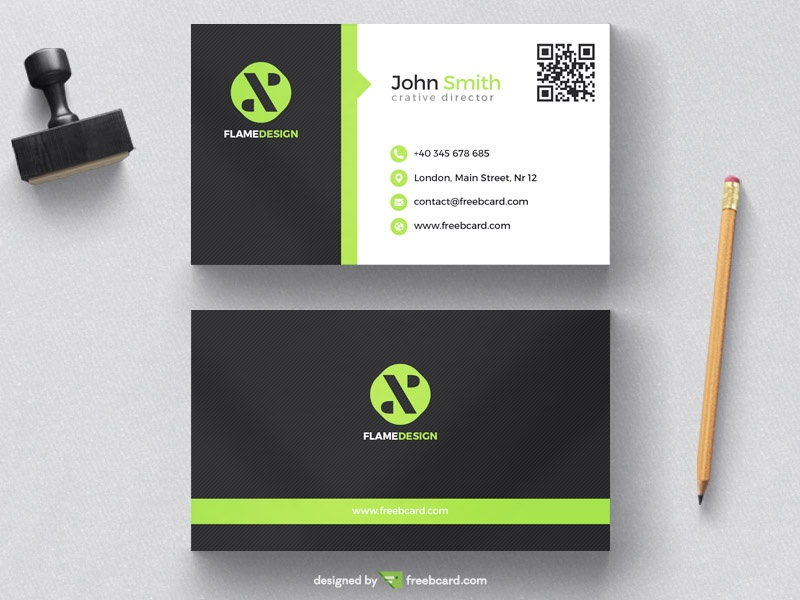 green and black corporate business card template freebcard - Template For Business Cards