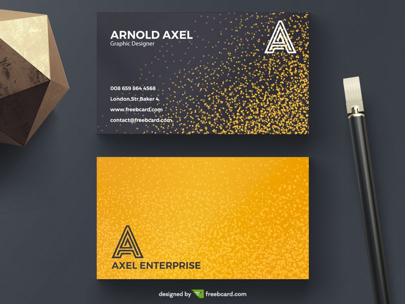 Golden glitter business card - Freebcard