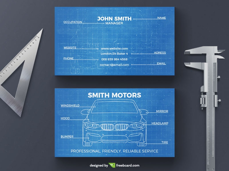 Car blueprint business card - Freebcard
