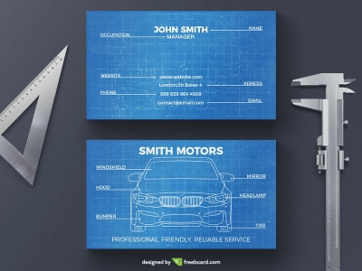 Car blueprint business card