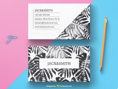 Black and white tropical business card template