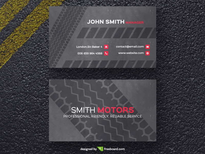 Tire print business card template freebcard wajeb Gallery