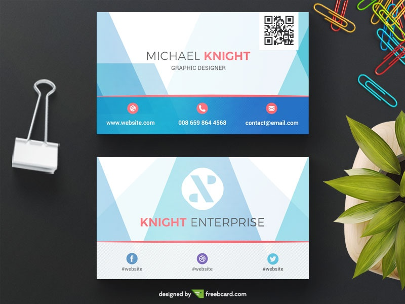 Blue Corporate Business Card Template Freebcard - Template for a business card