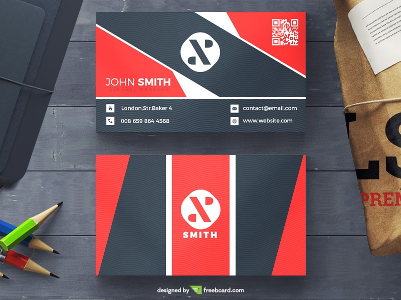 Corporate red and black visit card - Freebcard