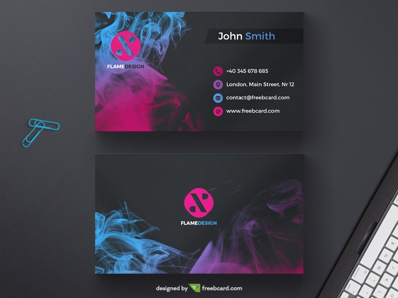 Dark business card template with colored ink drops - Freebcard