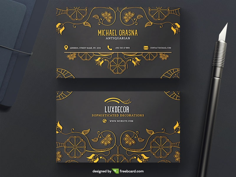 Luxury business card with golden ornaments - Freebcard