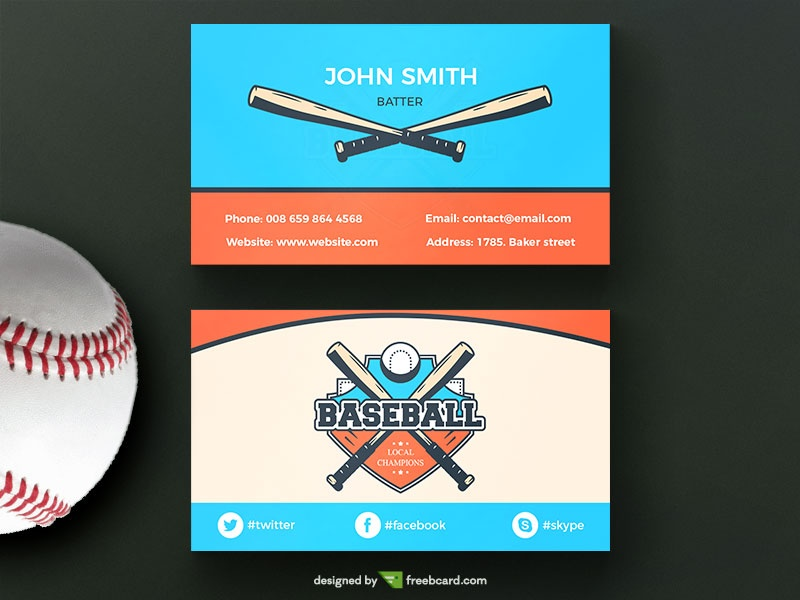 Download free sport business card templates freebcard baseball business business card wajeb Images