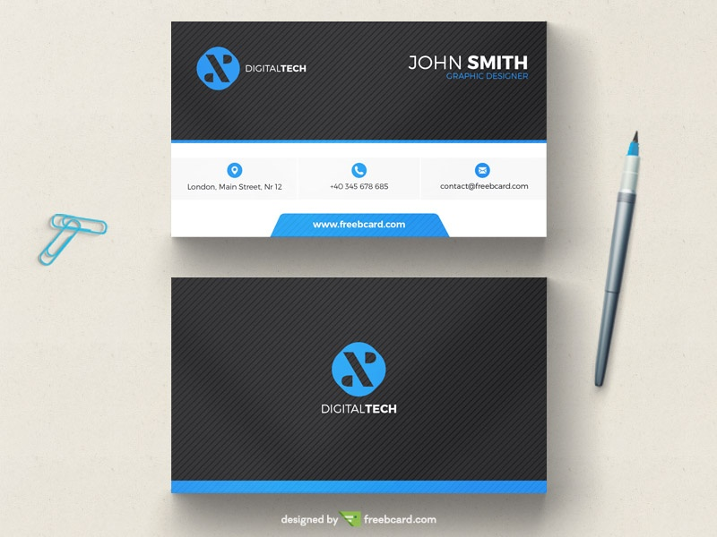 Black and blue minimal business card template freebcard flashek Choice Image
