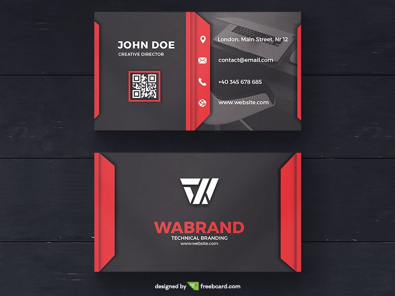 Red Corporate Business Card Template Freebcard - Template for a business card