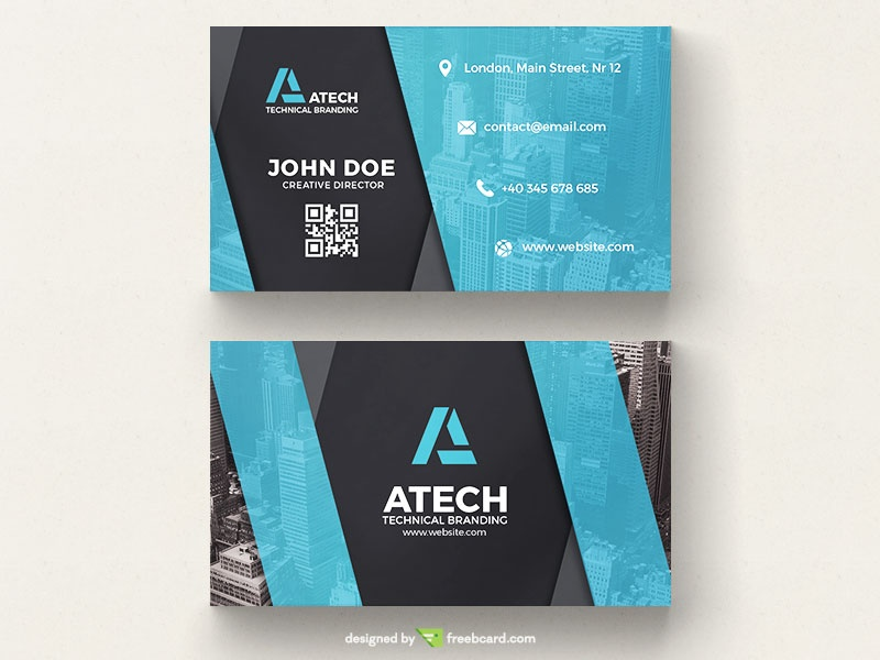 Blue Tech Name Card - Freebcard