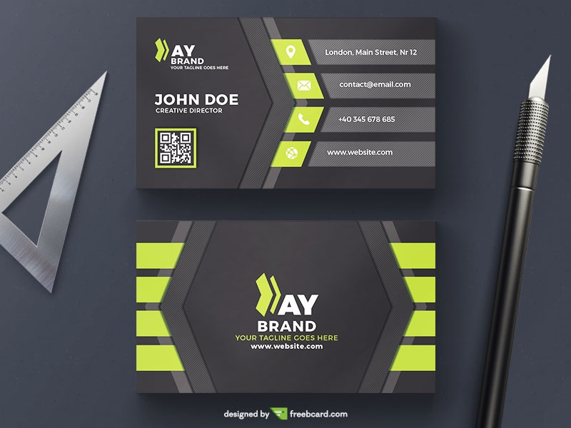 green and black corporate business card