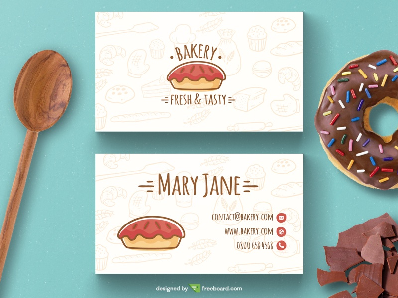 Bakery business card template freebcard in free business card template food drink flashek Image collections