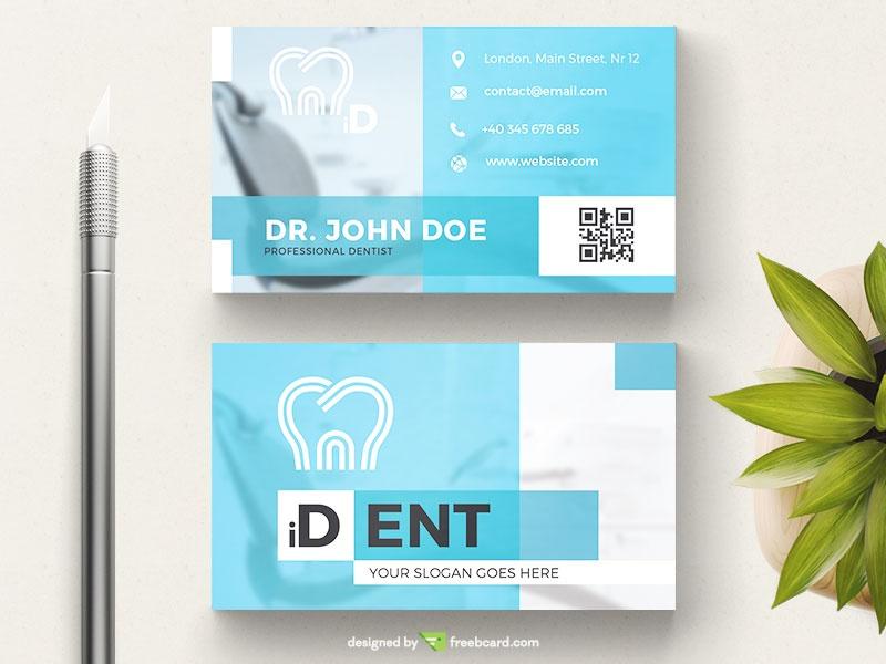 blue dentist business card template