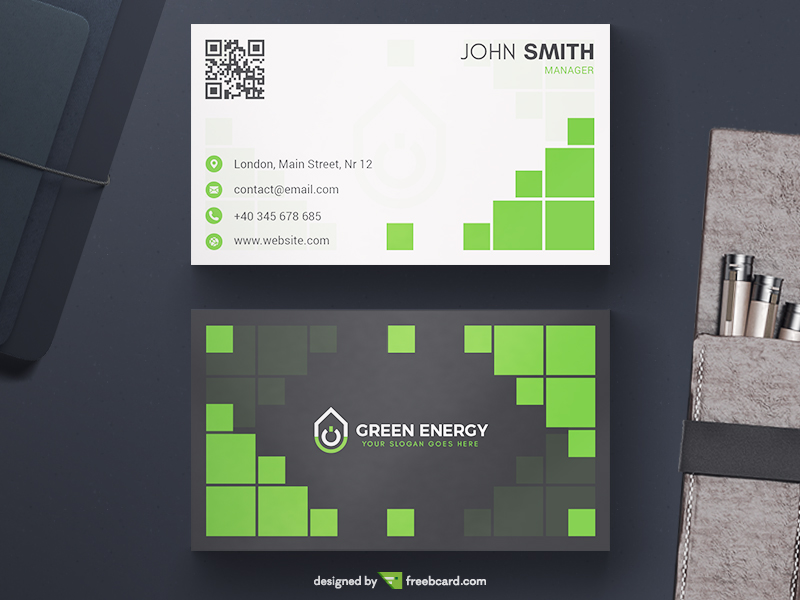 Green energy business card template freebcard green energy business card template in free business card template technology reheart