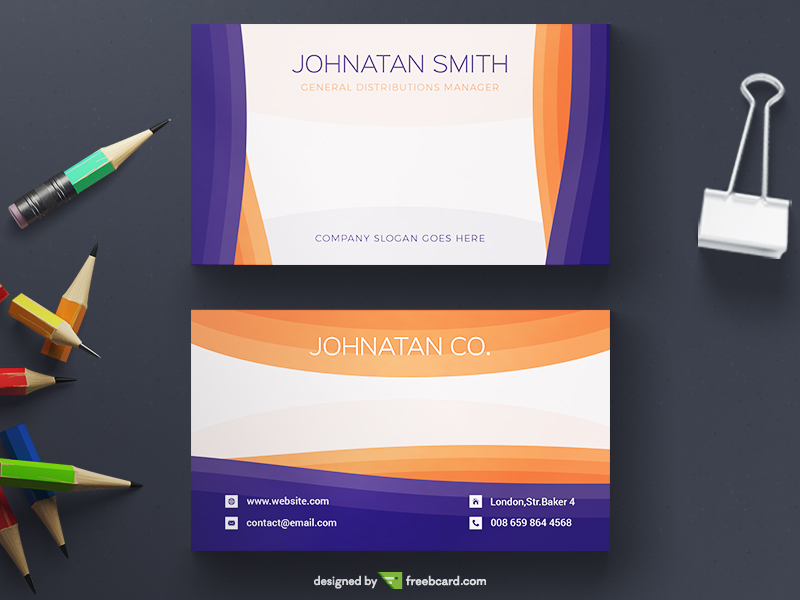 Orange and blue business card template freebcard in free business card template business colourmoves
