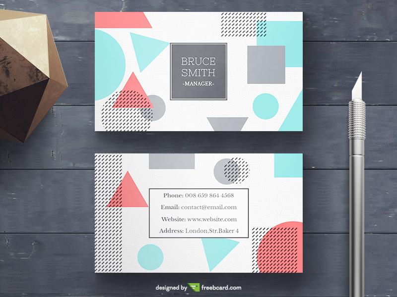 Memphis Business card template - Freebcard