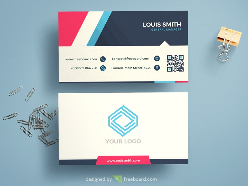 Corporate Blue Business Card Template Freebcard - Template for a business card