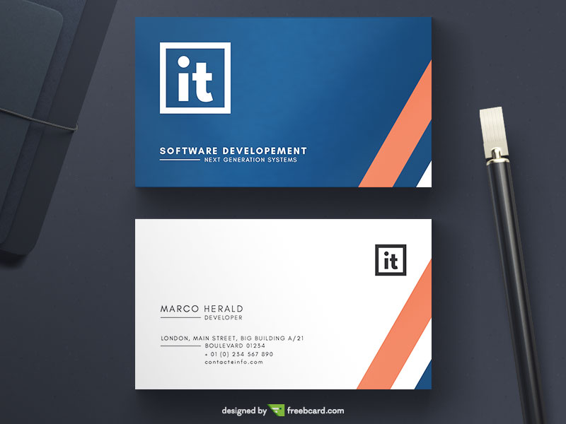 Blue And White Minimal Business Card - Freebcard