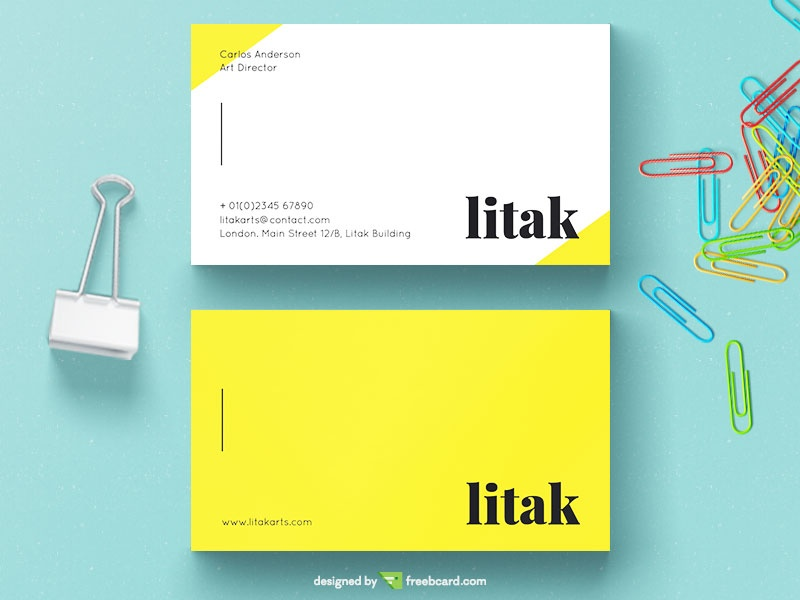Yellow And White Business Card - Freebcard