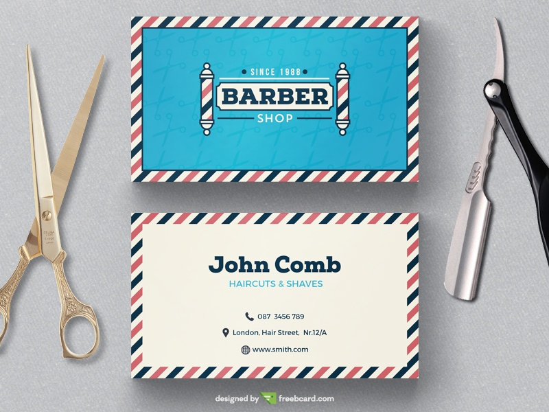 Barber shop business card template freebcard vintage barber shop business card template freebcard flashek Choice Image