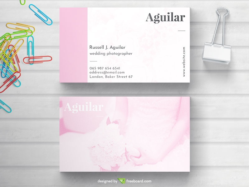 Pink Wedding Business Card Freebcard