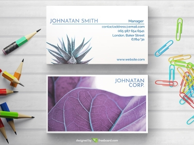 Minimal Business Card With Purple Plant