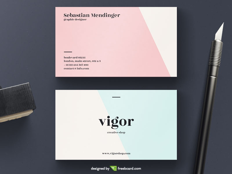Light Red And Blue Minimal Business Card - Freebcard