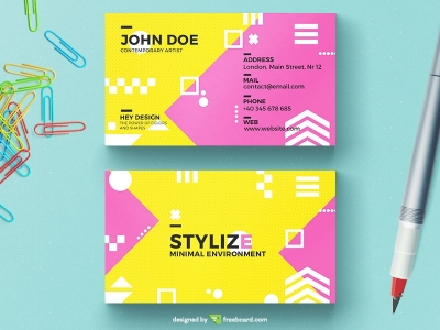 Playful Yellow And Pink Business Card