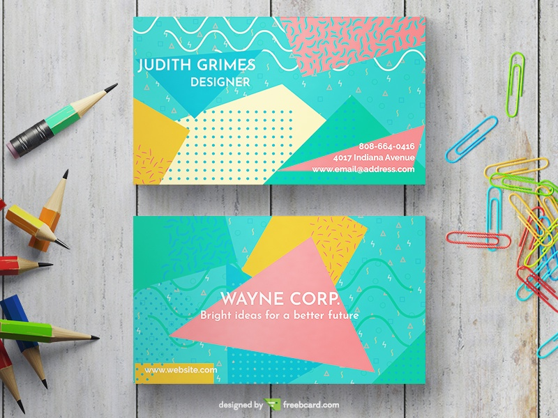 Memphis Business Card With Strong Colors - Freebcard