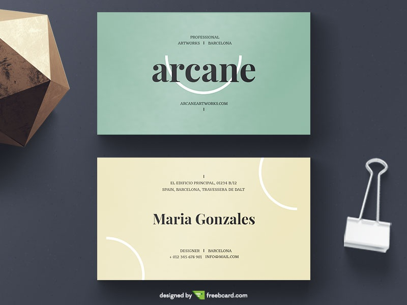 Yellow And Green Business Card - Freebcard
