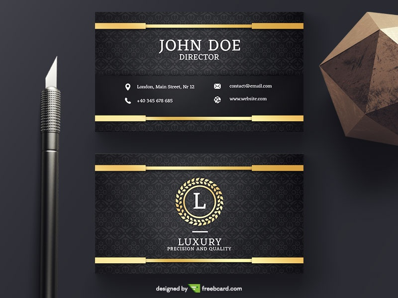 Golden Luxury Business Card - Freebcard