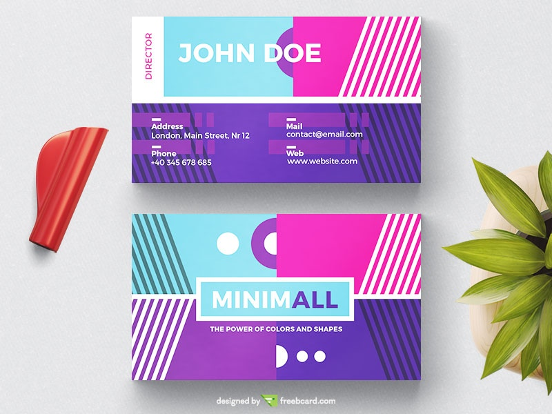 Colorful Geometric Business Card - Freebcard