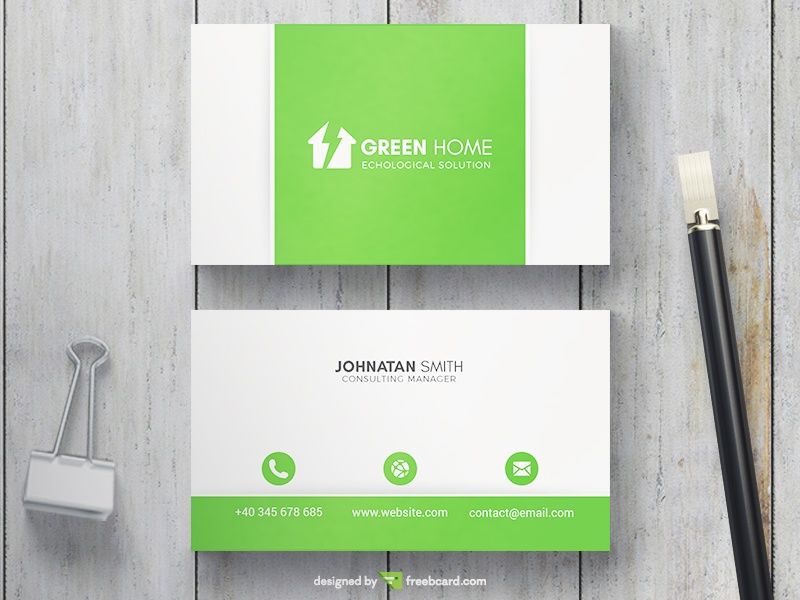 Green Smart Home Business Card Freebcard