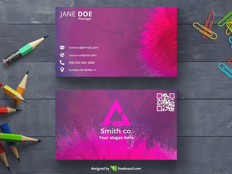 Pink Powder Explosion Business Card - Freebcard