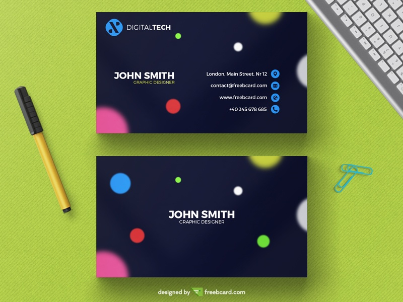 Modern business card with blurred circles - Freebcard
