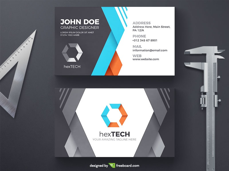 Creative Business Card With Folded Ribbons - Freebcard