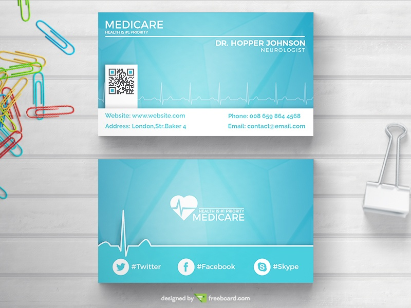 Download free medical health business card templates freebcard medical business card with pulse cheaphphosting Image collections