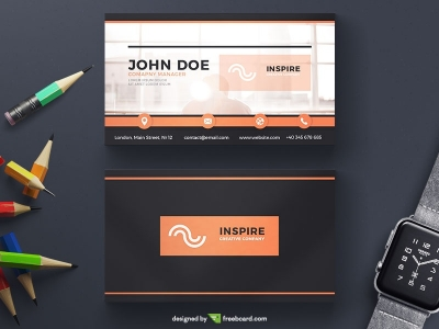 Orange And Black Corporate Business Card