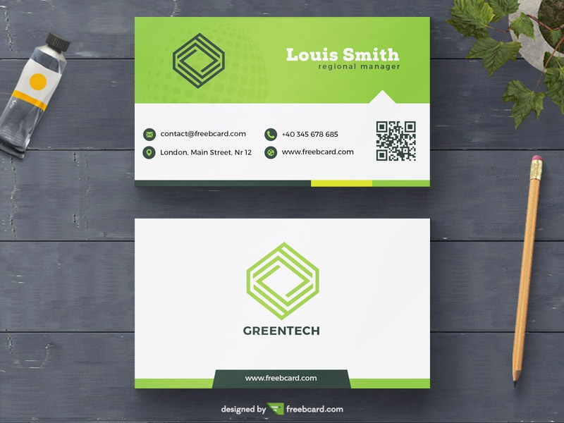green minimal business card template freebcard