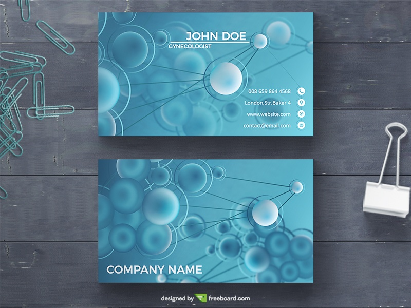 Blue Biological Business Card Template - Freebcard