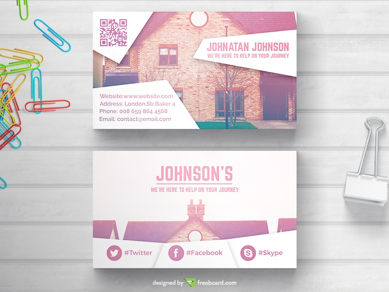 Real Estate Business Card With Color Transition Freebcard