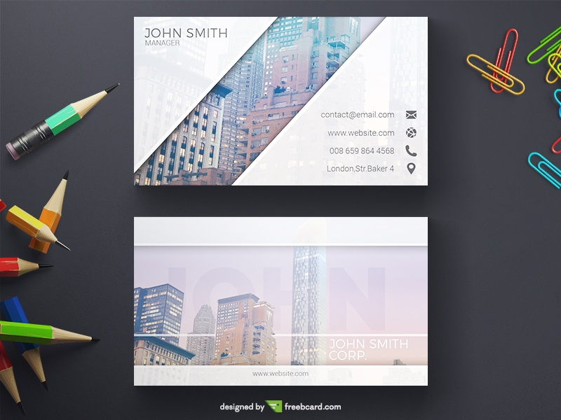 Corporate Business Card With Subtle Color Transition - Freebcard