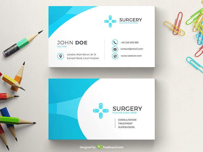 Blue Medical Business Card Freebcard