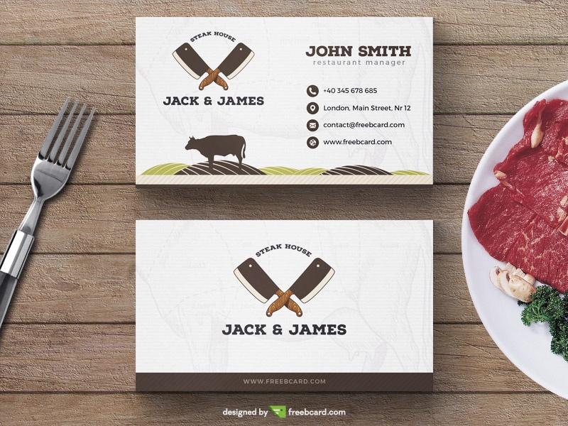 Steak restaurant business card template freebcard cheaphphosting