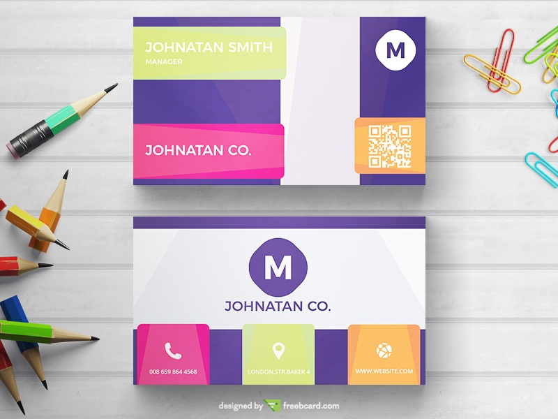 Simple Business Card With Warm Colors - Freebcard