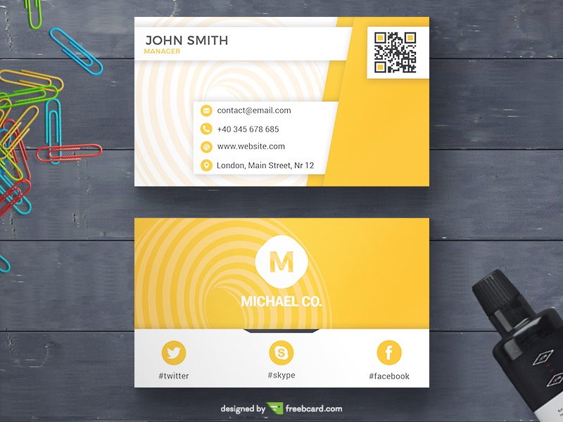 White And Yellow Business Card - Freebcard