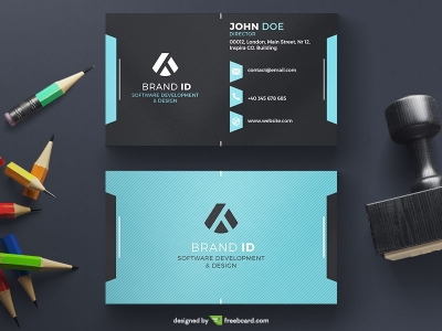 Dark Business Card With Stripe Pattern