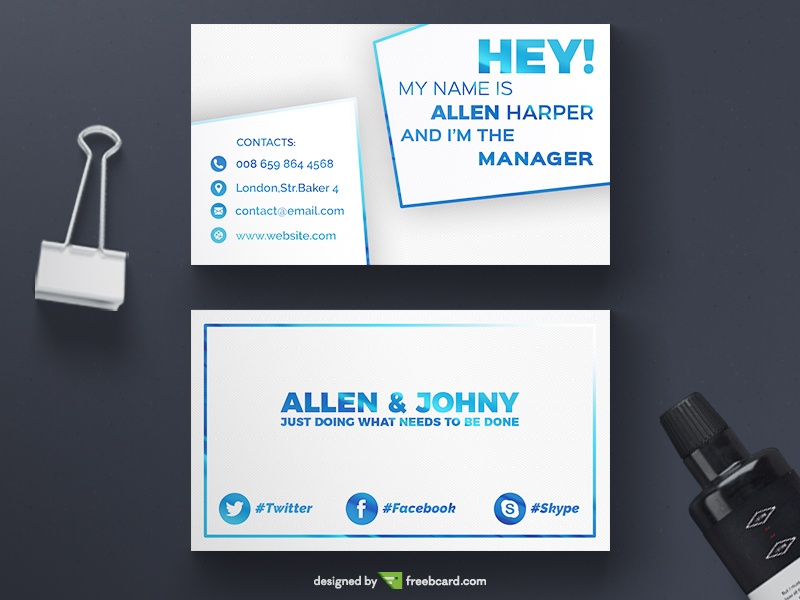 White business card freebcard in free business card template creative accmission Image collections