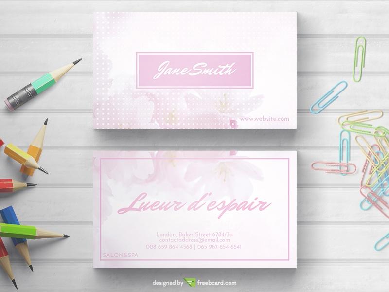 Light Feminine Business Card - Freebcard